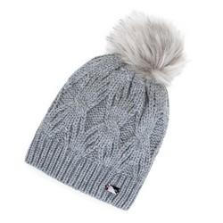 Damska czapka zimowa w warkocze z pomponem, szary, 91-HF-011-8, Zdjęcie 1