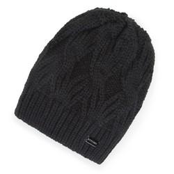 Damska czapka zimowa w warkocze, czarny, 91-HF-012-1, Zdjęcie 1