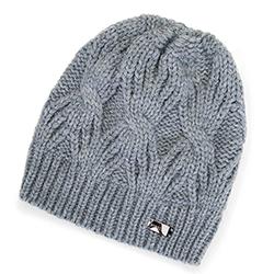 Damska czapka zimowa w warkocze, szary, 91-HF-012-8, Zdjęcie 1