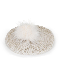 Women's knitted beret hat, cream, 91-HF-013-0, Photo 1