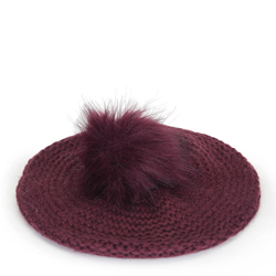 Women's knitted beret, burgundy, 91-HF-013-2, Photo 1