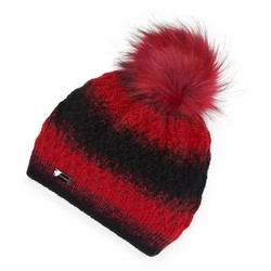 Damska czapka ombre z pomponem, czarno - czerwony, 91-HF-014-2, Zdjęcie 1