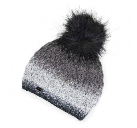 Damska czapka ombre z pomponem, czarno - szary, 91-HF-014-8, Zdjęcie 1