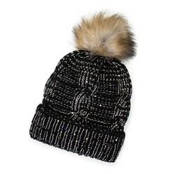 Damska czapka z metaliczną nicią i pomponem, czarno - złoty, 91-HF-200-1X, Zdjęcie 1