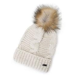 Damska czapka z metaliczną nicią i pomponem, kremowy, 91-HF-200-4, Zdjęcie 1