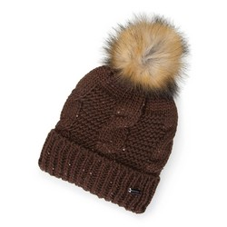 Women's winter pom pom hat with metallic thread, brown, 91-HF-200-5, Photo 1