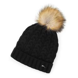 Damska czapka o warkoczowym splocie z pomponem, czarny, 91-HF-202-1, Zdjęcie 1