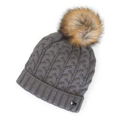 Damska czapka o warkoczowym splocie z pomponem, szary, 91-HF-202-8, Zdjęcie 1