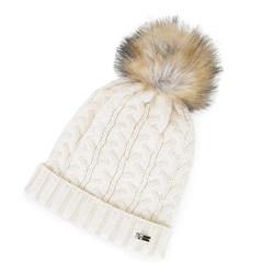 Damska czapka o warkoczowym splocie z pomponem, kremowy, 91-HF-202-9, Zdjęcie 1