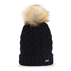 Damska czapka z grubym warkoczowym splotem, czarny, 93-HF-014-1, Zdjęcie 1
