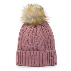 Damska czapka ze splotem w warkocze, różowy, 93-HF-021-P, Zdjęcie 1