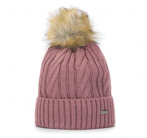 Damska czapka ze splotem w warkocze, różowy, 93-HF-021-N, Zdjęcie 1
