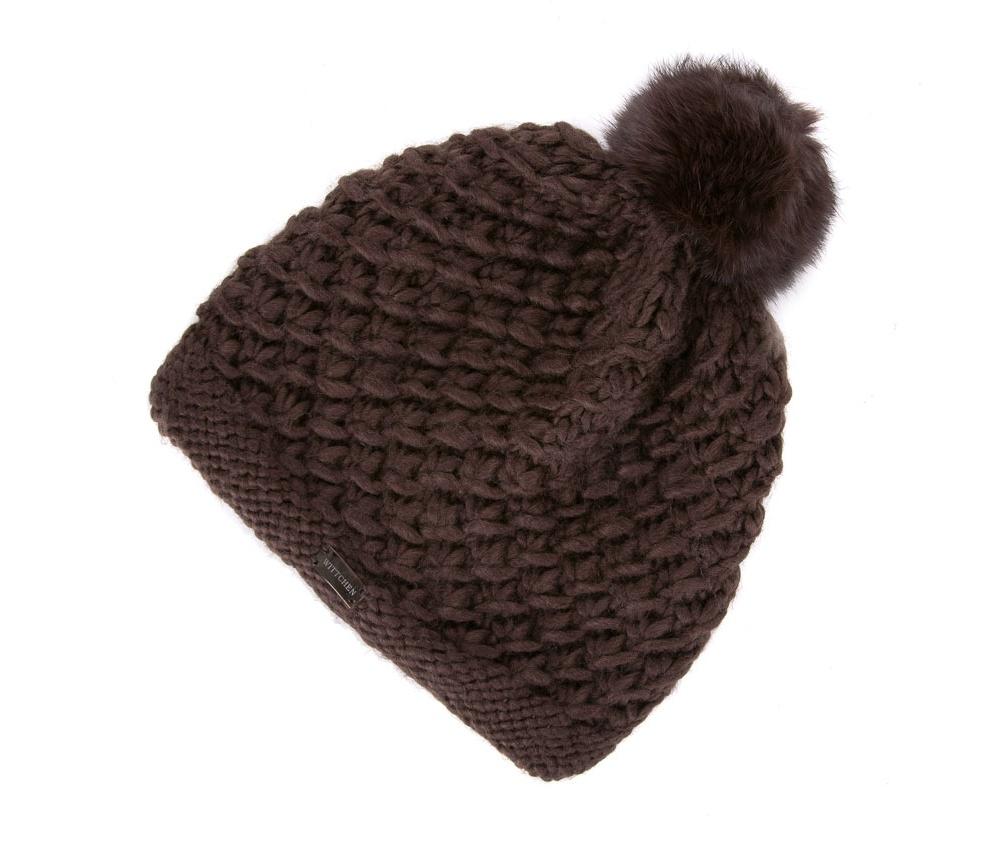 Шапка женскаяЖенская шапка из высококачественного материала с интересным плетением нити. Помпон из натурального меха енота украшает верх шапки чем придает  элегантности в повседневный стиль.<br><br>секс: женщина<br>Цвет: коричневый<br>материал:: Акрил