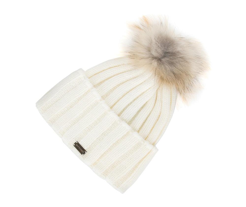 Шапка женскаяЖенская шапка из высококачественного материала с интересным плетением нити. Помпон из натурального меха енота украшает верх шапки чем придает  элегантности в повседневный стиль.<br><br>секс: женщина<br>Цвет: бежевый<br>материал:: Акрил