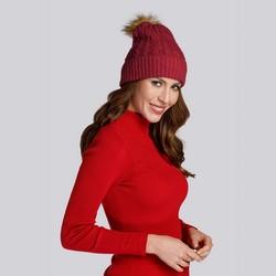 Damska czapka z grubym warkoczowym splotem, ciemny czerwony, 93-HF-014-2, Zdjęcie 1
