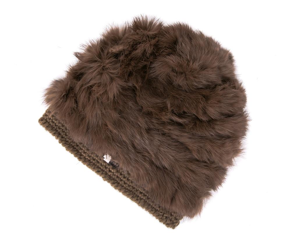 Шапка женскаяЖенская шапка из высококачественного материала с интересным плетением нити. Помпон из натурального меха енота украшает верх шапки чем придает  элегантности в повседневный стиль.<br><br>секс: женщина<br>Цвет: коричневый<br>материал:: Акрил<br>высота (см):: 23