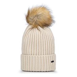 Winter's winter hat with pom pom, beige - silver, 93-HF-013-0, Photo 1