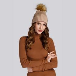 Winter's winter hat with pom pom, dark beige, 93-HF-013-9, Photo 1