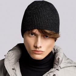 Męska czapka z odblaskowym włóknem, czarny, 93-HF-015-1, Zdjęcie 1