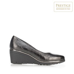 Metallic wedge court shoes, black, 92-D-657-1-40, Photo 1