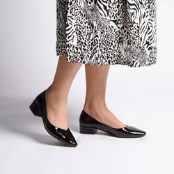 Czółenka ze skóry lakierowanej w szpic, czarny, 92-D-953-1-35, Zdjęcie 1