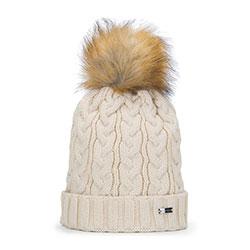 Damska czapka z grubym warkoczowym splotem, kremowy, 93-HF-014-9, Zdjęcie 1