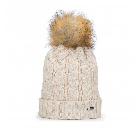 Damska czapka z grubym warkoczowym splotem, kremowy, 93-HF-014-2, Zdjęcie 1