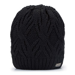 Women's winter cable knit beanie, black, 93-HF-006-1, Photo 1