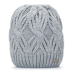 Women's winter cable knit beanie, light grey, 93-HF-006-8, Photo 1