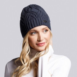 Women's winter cable knit beanie, navy blue, 93-HF-006-7, Photo 1