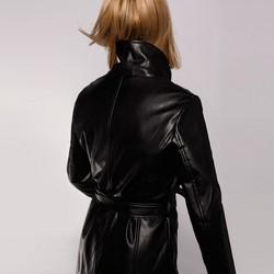 Damska kurtka długa z guzikami, czarny, 92-9P-105-1-S, Zdjęcie 1