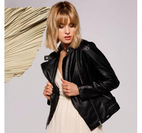Damska kurtka o klasycznym kroju, czarny, 92-9P-103-7-M, Zdjęcie 1