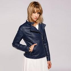 Damska kurtka o klasycznym kroju, niebieski, 92-9P-103-7-3XL, Zdjęcie 1