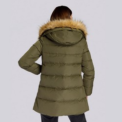 Damska kurtka puchowa z kapturem, zielony, 93-9D-402-Z-M, Zdjęcie 1