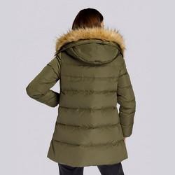 Damska kurtka puchowa z kapturem, zielony, 93-9D-402-Z-S, Zdjęcie 1