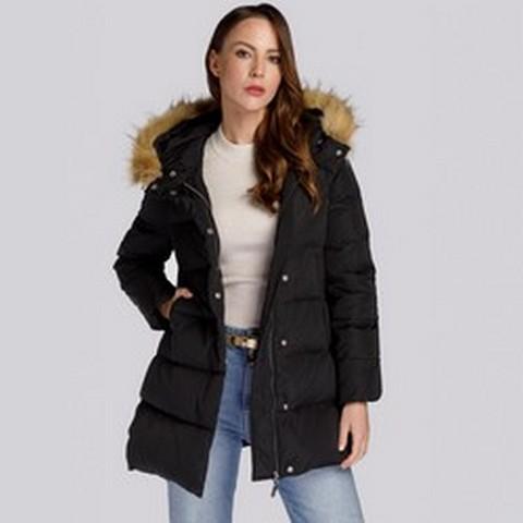 Damska kurtka puchowa z kapturem i wycięciem, czarny, 93-9D-402-1-XL, Zdjęcie 1