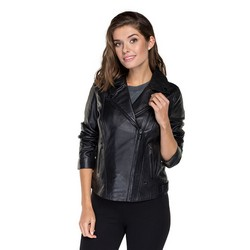 Women's leather biker jacket made from sheepskin leather, black, 91-09-600-1-XS, Photo 1