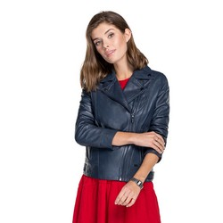 Women's leather biker jacket made from sheepskin leather, navy blue, 91-09-600-7-S, Photo 1