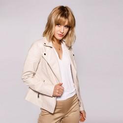 Damska kurtka ramoneska z pikowaniem, beżowy, 92-9P-101-0-XL, Zdjęcie 1