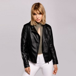 Damska kurtka ramoneska z pikowaniem, czarny, 92-9P-101-1-XL, Zdjęcie 1