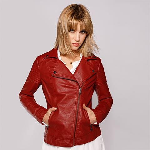 Damska kurtka ramoneska z pikowaniem, czerwony, 92-9P-101-2-S, Zdjęcie 1