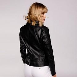 Damska kurtka ramoneska z pikowaniem, czarny, 92-9P-101-1-XS, Zdjęcie 1