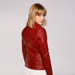 Damska kurtka ramoneska z pikowaniem, czerwony, 92-9P-101-2-M, Zdjęcie 1