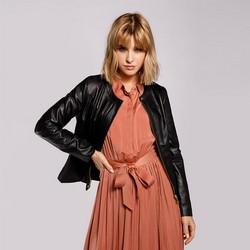 Damska kurtka skórzana z krytym zamkiem, czarny, 92-09-804-1-XL, Zdjęcie 1