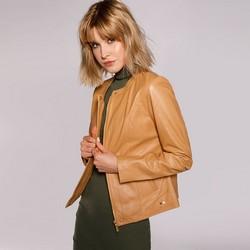 Damska kurtka skórzana z krytym zamkiem, ciemny  beż, 92-09-804-5-XL, Zdjęcie 1