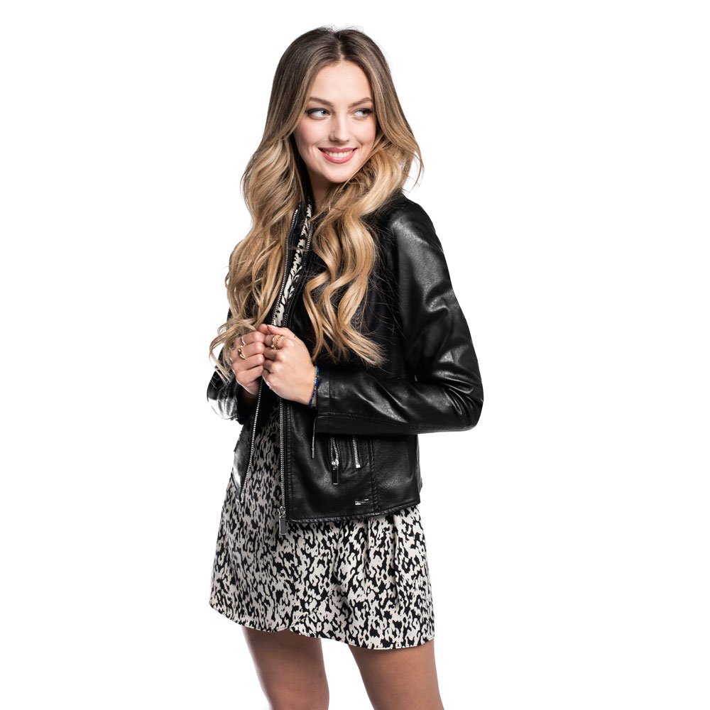 Women's faux leather racer jacket, black, 92-9P-900-1-S, Photo 1
