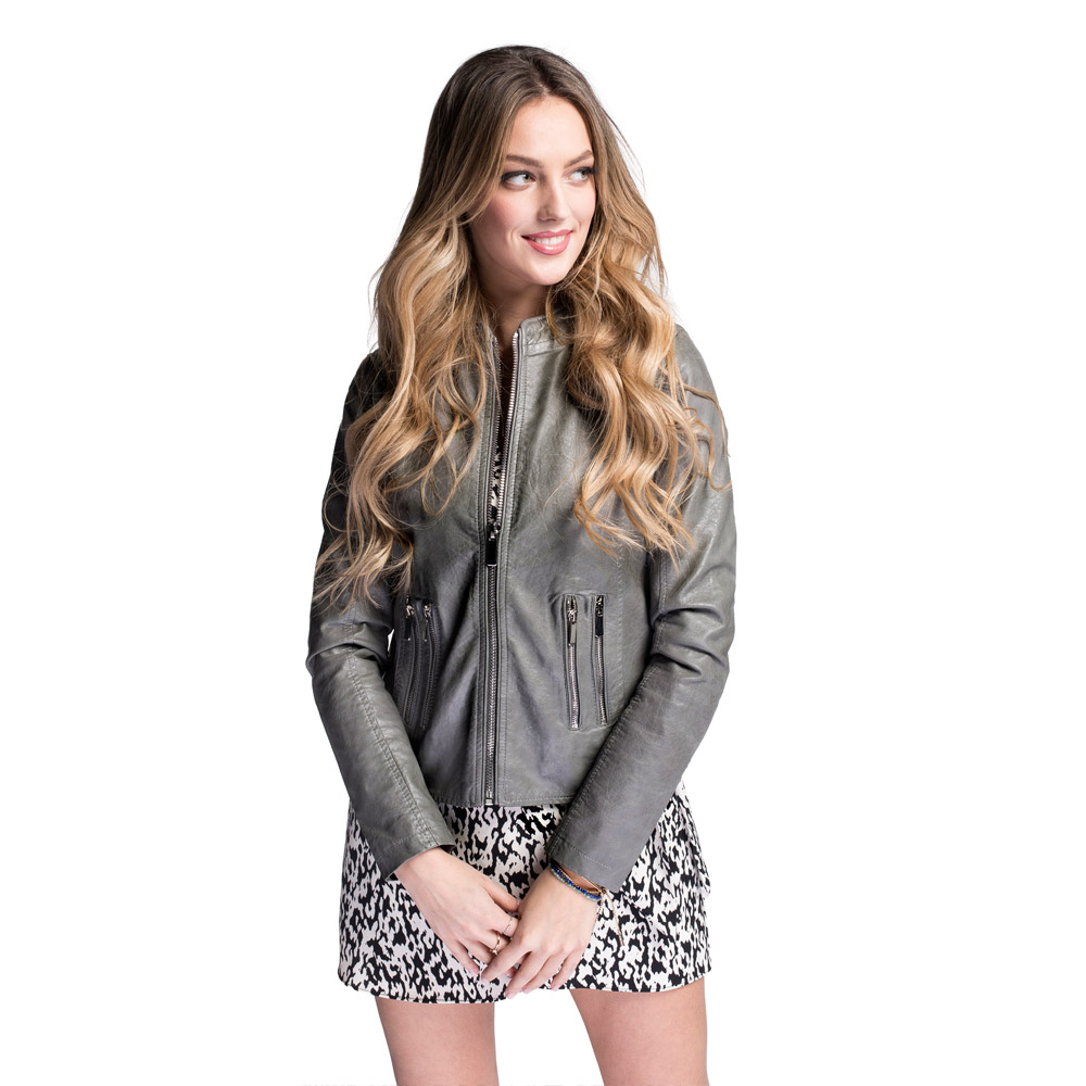 Women's faux leather racer jacket, grey, 92-9P-900-8-L, Photo 1