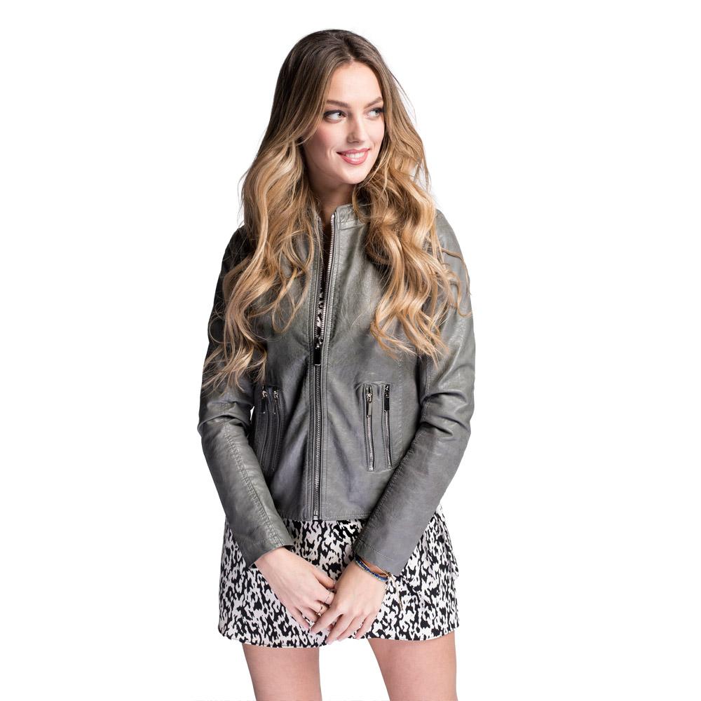 Women's faux leather racer jacket, grey, 92-9P-900-8-M, Photo 1
