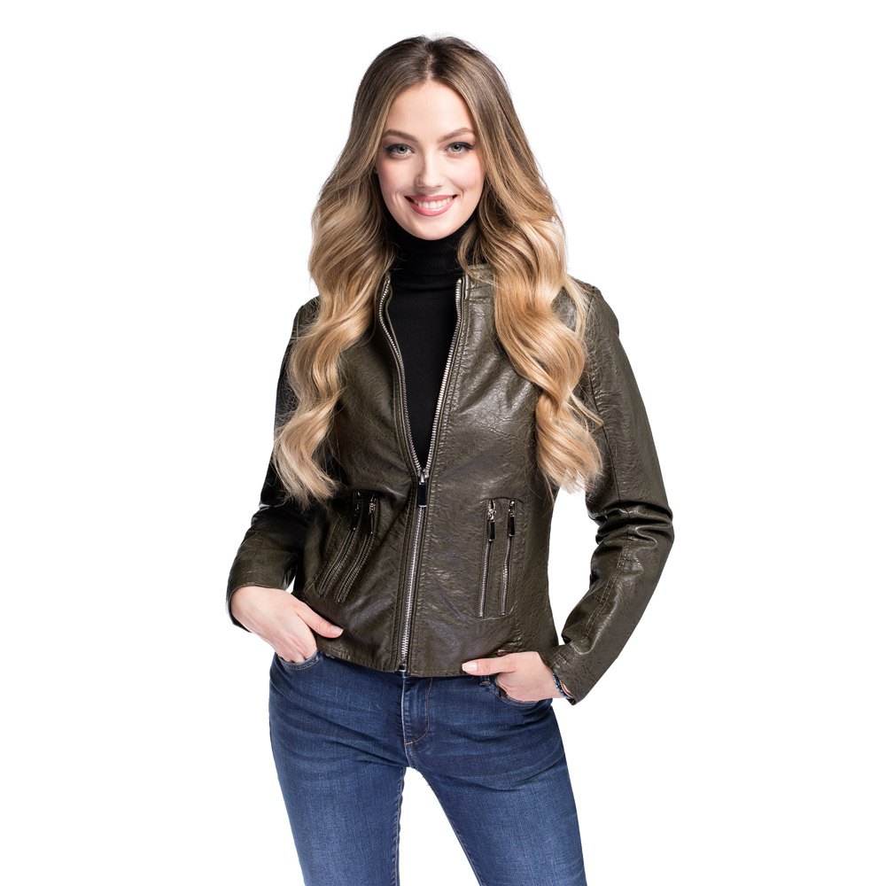 Women's faux leather racer jacket, khaki green, 92-9P-900-Z-L, Photo 1