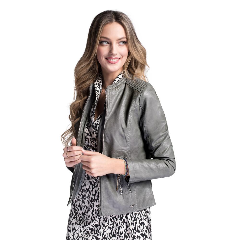 Women's faux leather racer jacket, grey, 92-9P-900-8-L, Photo 1